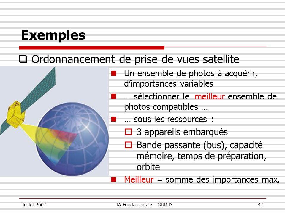 Exemples Ordonnancement de prise de vues satellite