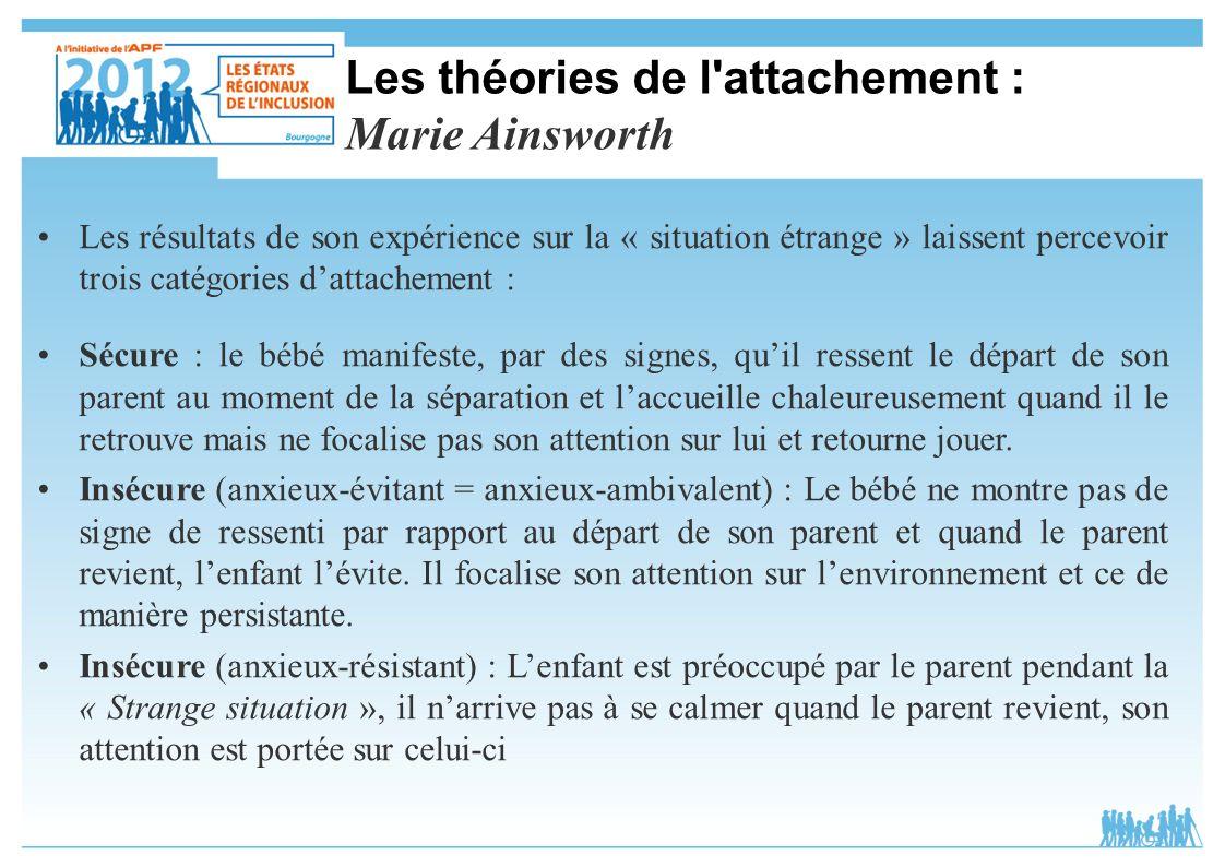 Les théories de l attachement : Marie Ainsworth