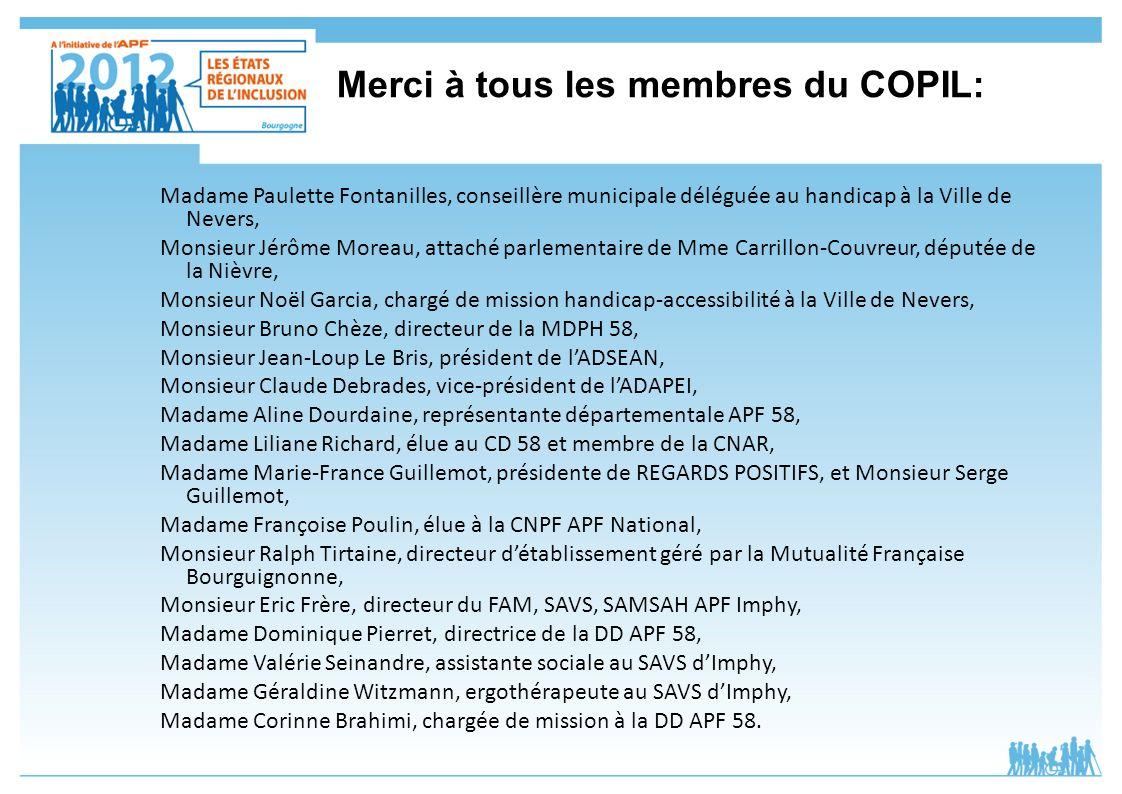Merci à tous les membres du COPIL: