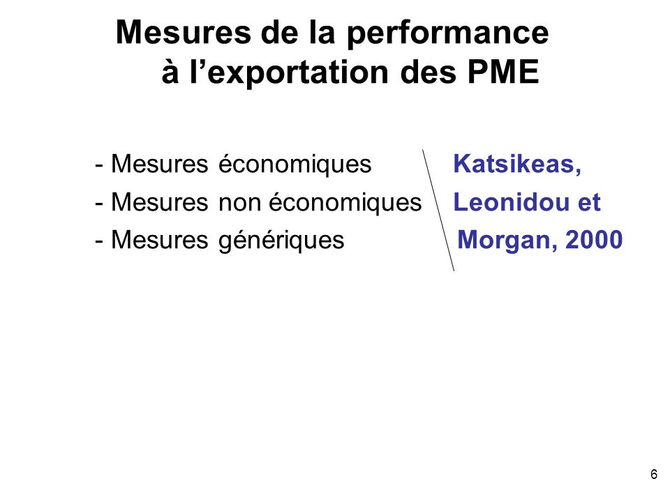 Mesures de la performance à l'exportation des PME