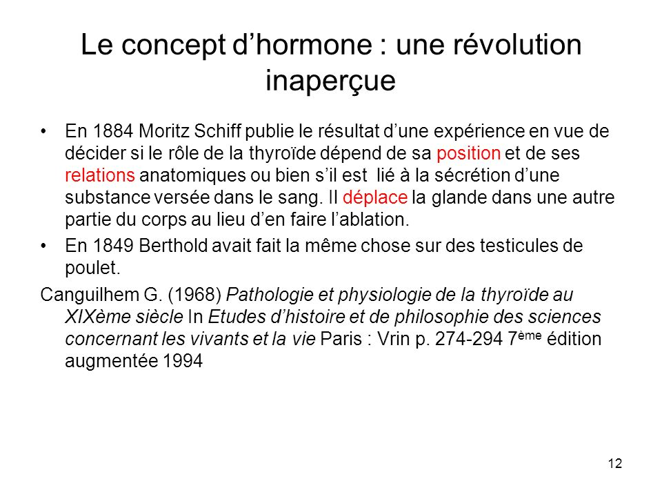 Le concept d'hormone : une révolution inaperçue