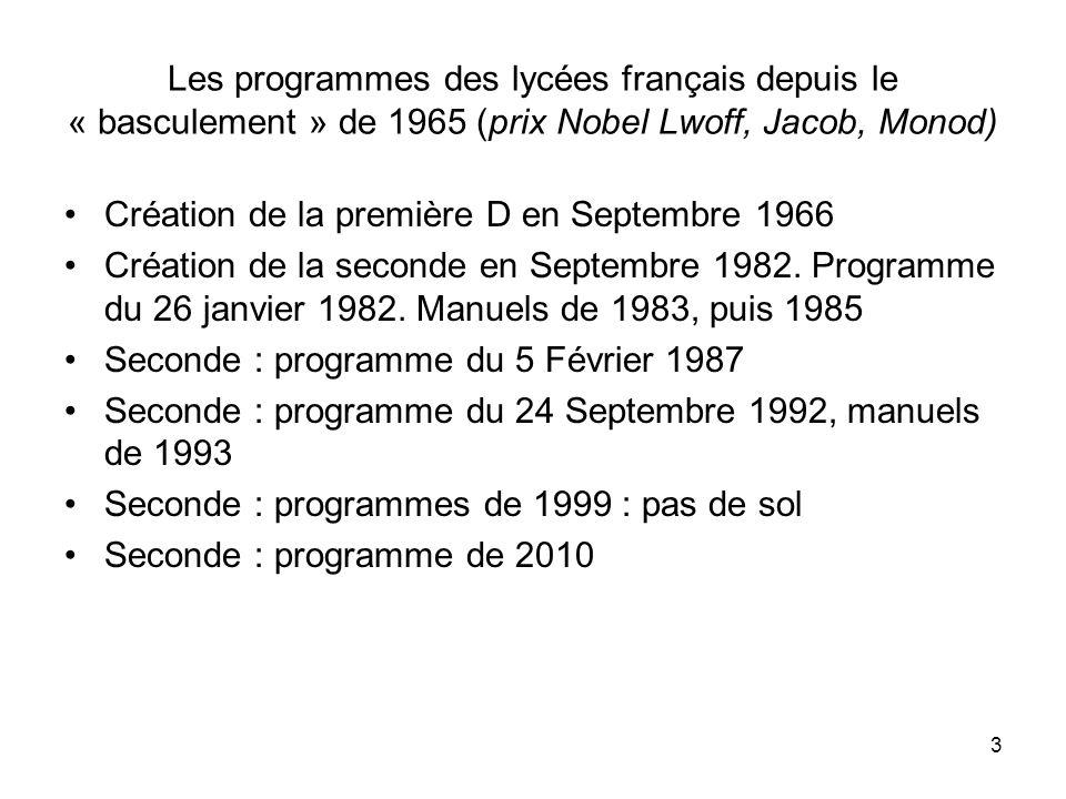 Les programmes des lycées français depuis le « basculement » de 1965 (prix Nobel Lwoff, Jacob, Monod)