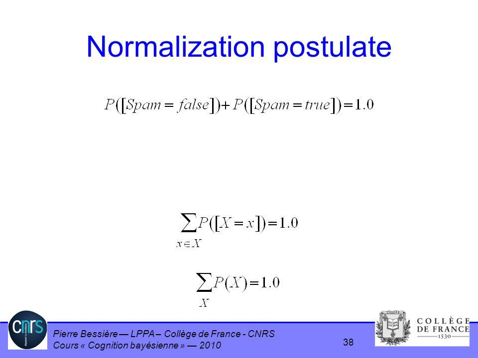 Normalization postulate