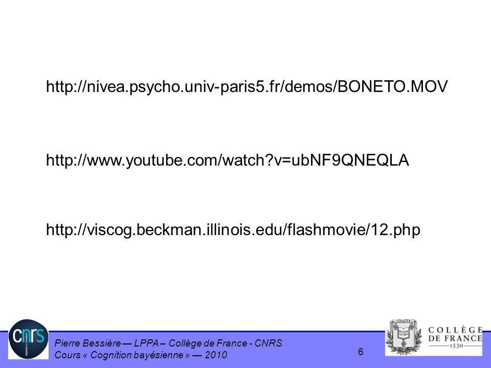 http://nivea.psycho.univ-paris5.fr/demos/BONETO.MOV http://www.youtube.com/watch v=ubNF9QNEQLA.