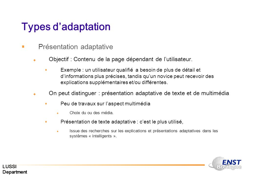 Types d'adaptation Présentation adaptative