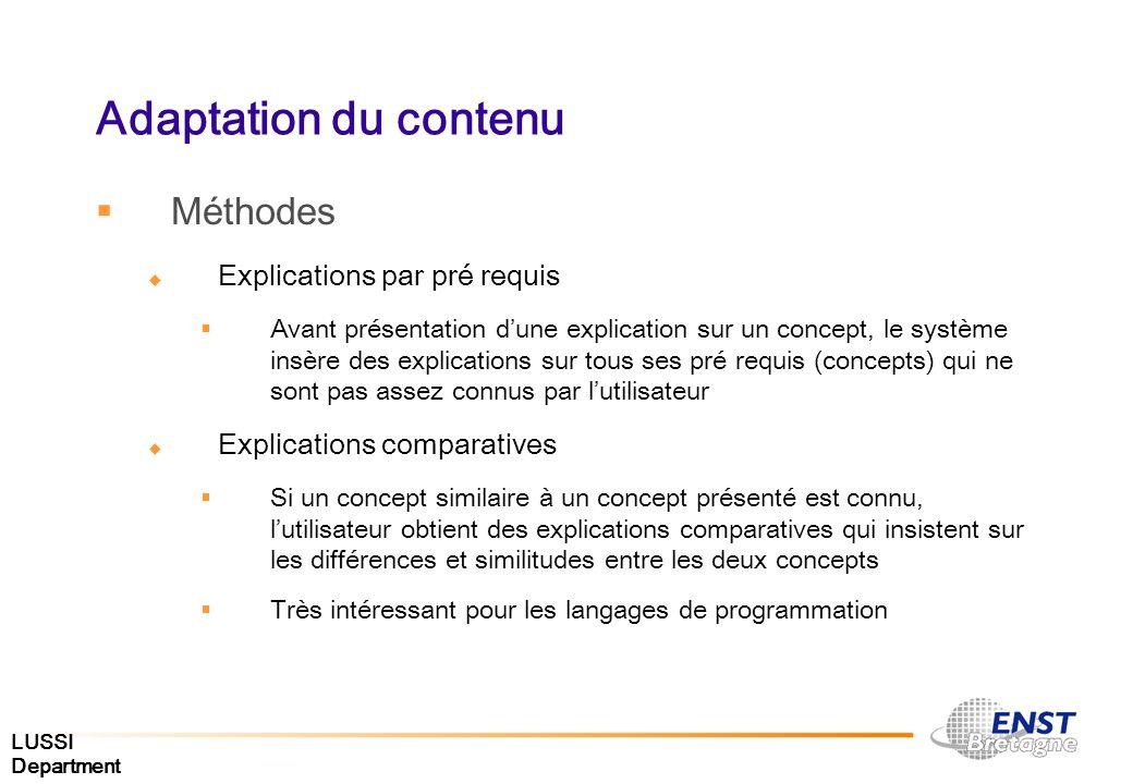 Adaptation du contenu Méthodes Explications par pré requis