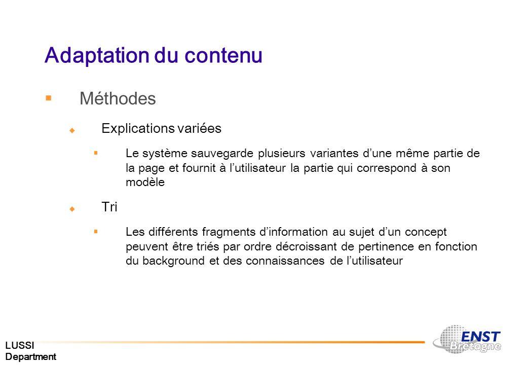 Adaptation du contenu Méthodes Explications variées Tri