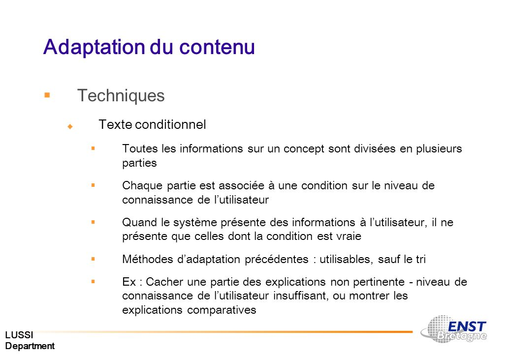 Adaptation du contenu Techniques Texte conditionnel
