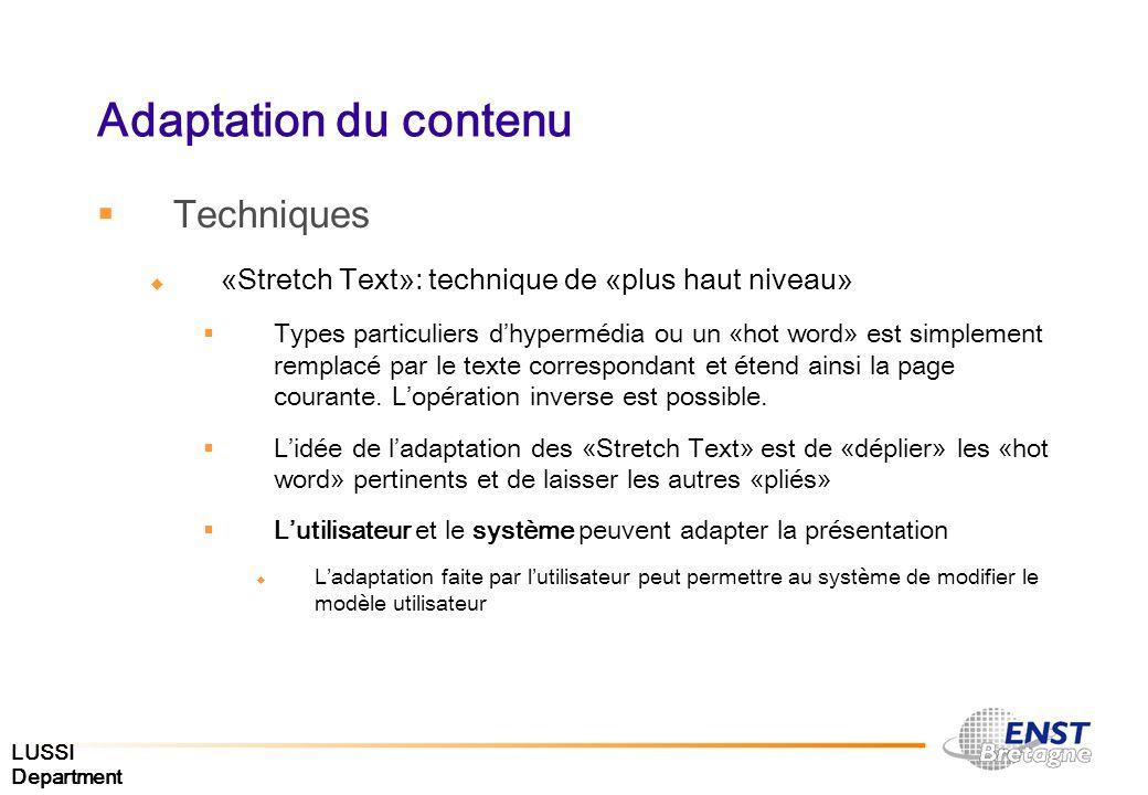 Adaptation du contenu Techniques