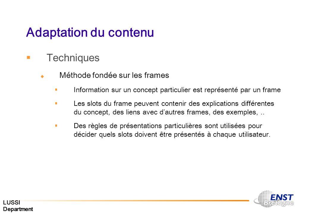 Adaptation du contenu Techniques Méthode fondée sur les frames
