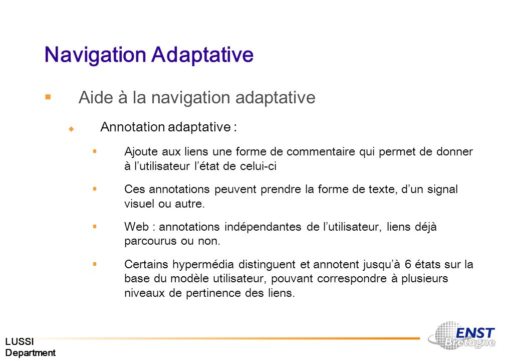 Navigation Adaptative