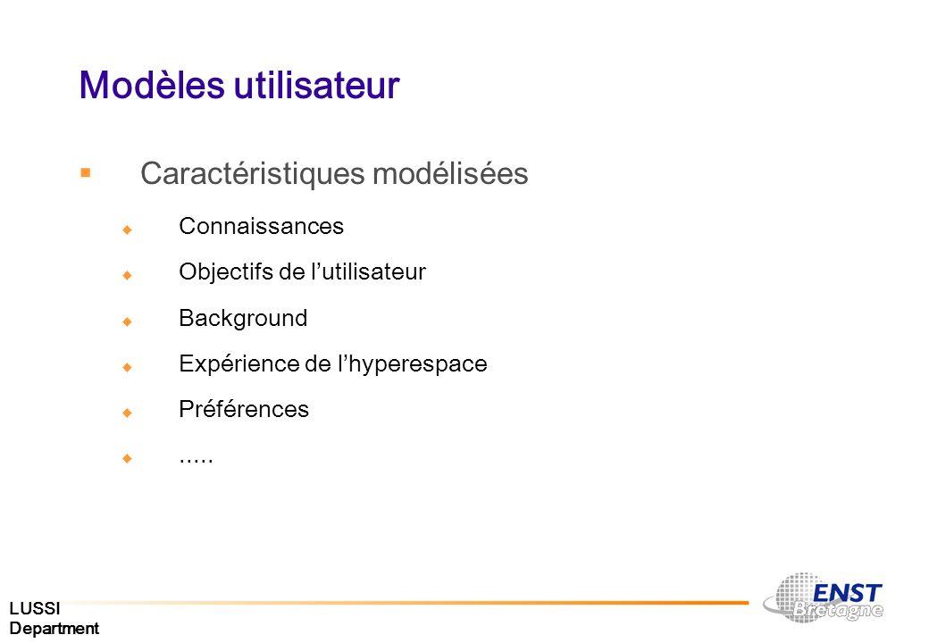 Modèles utilisateur Caractéristiques modélisées Connaissances