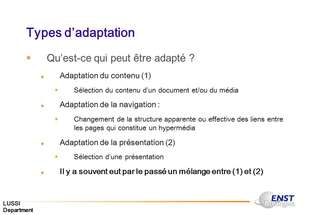 Types d'adaptation Qu'est-ce qui peut être adapté