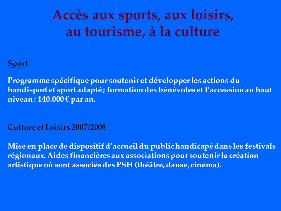 Accès aux sports, aux loisirs, au tourisme, à la culture