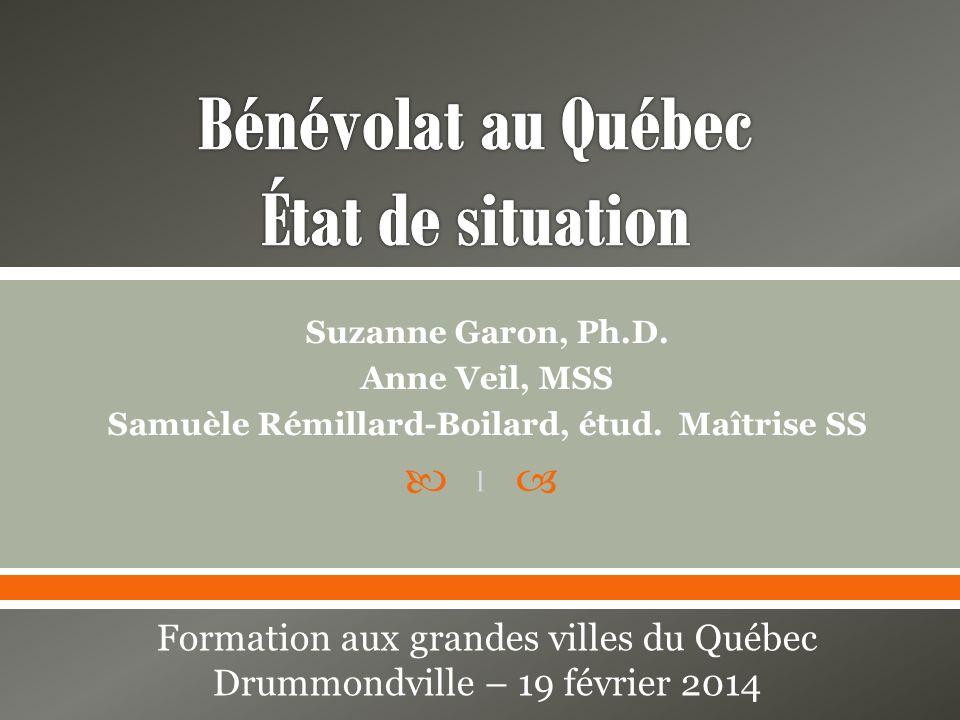 Bénévolat au Québec État de situation
