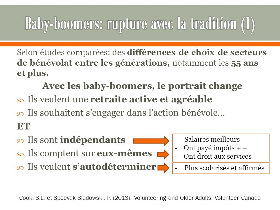 Baby-boomers: rupture avec la tradition (1)