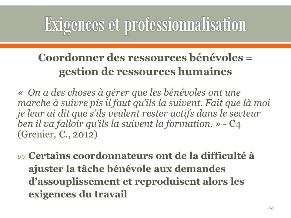 Exigences et professionnalisation