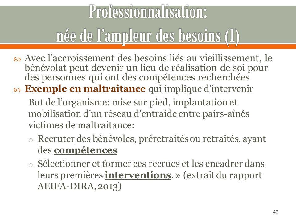 Professionnalisation: née de l'ampleur des besoins (1)