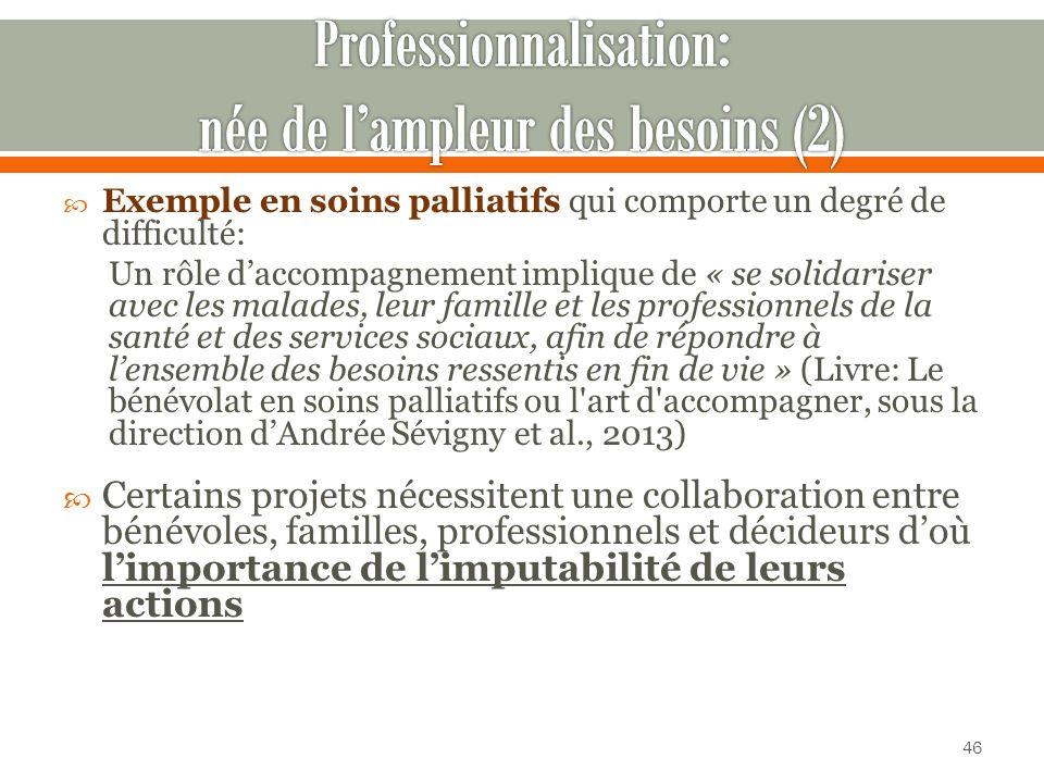 Professionnalisation: née de l'ampleur des besoins (2)