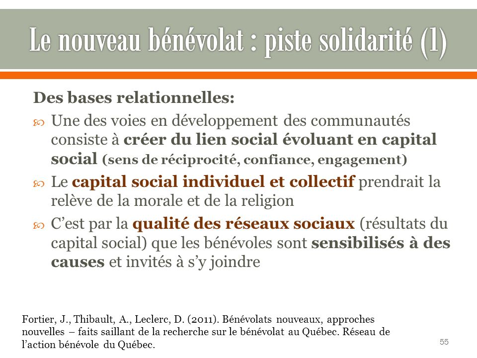 Le nouveau bénévolat : piste solidarité (1)