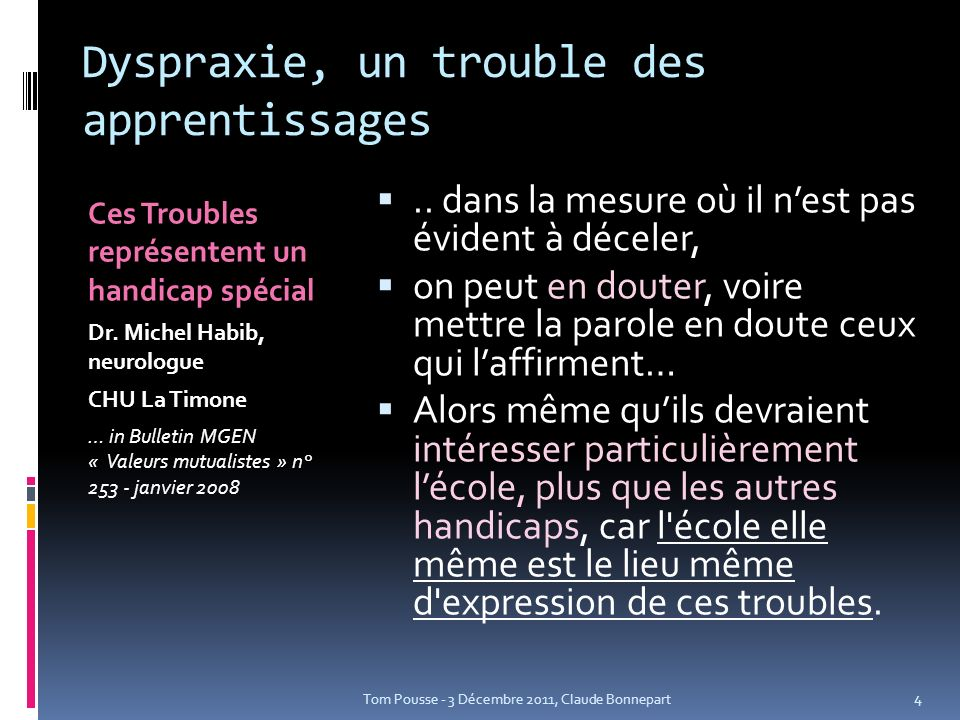 Dyspraxie, un trouble des apprentissages