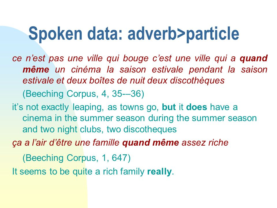 Spoken data: adverb>particle