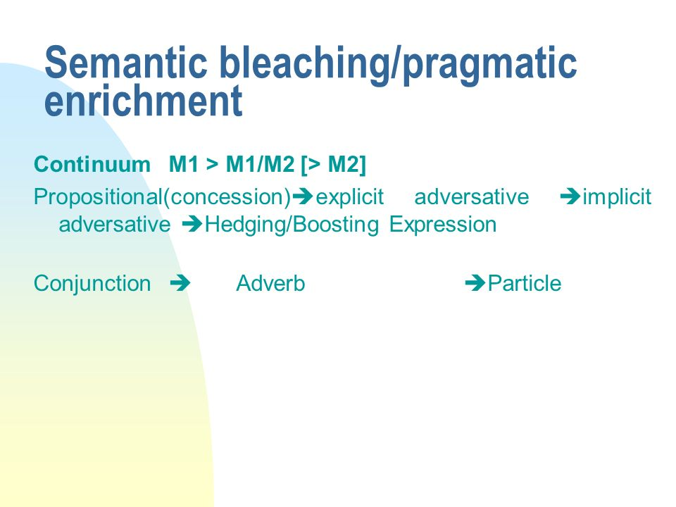 Semantic bleaching/pragmatic enrichment
