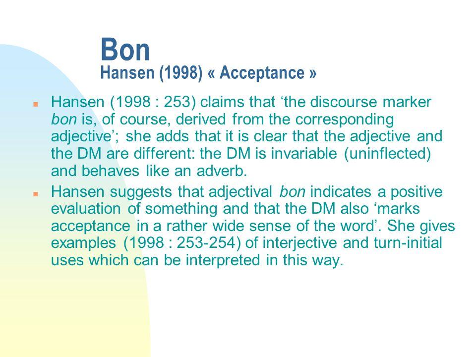 Bon Hansen (1998) « Acceptance »