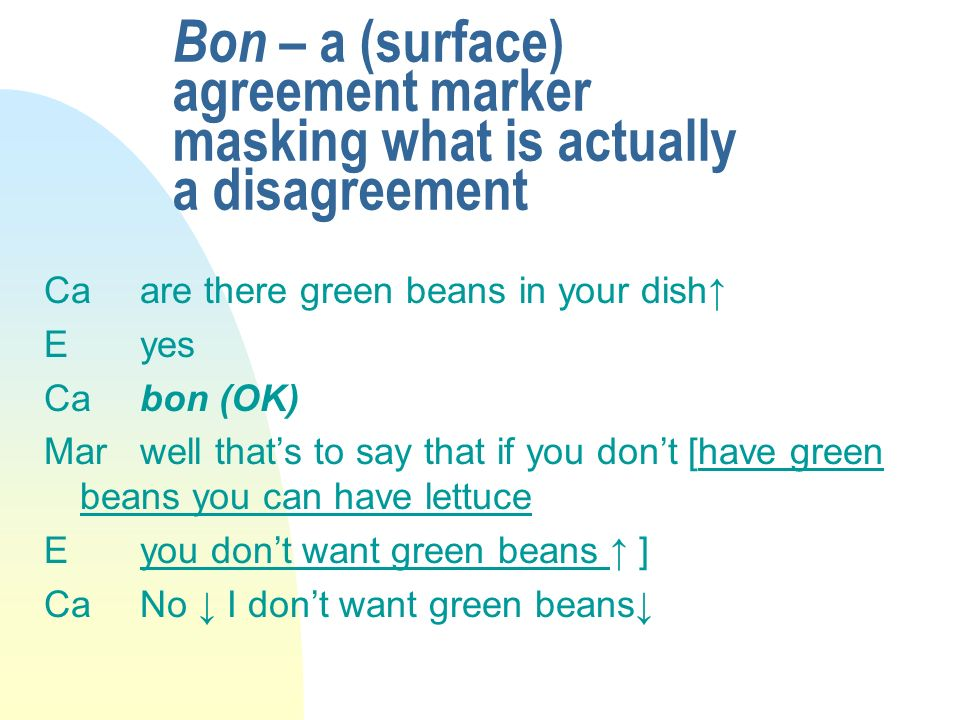 Bon – a (surface) agreement marker masking what is actually a disagreement