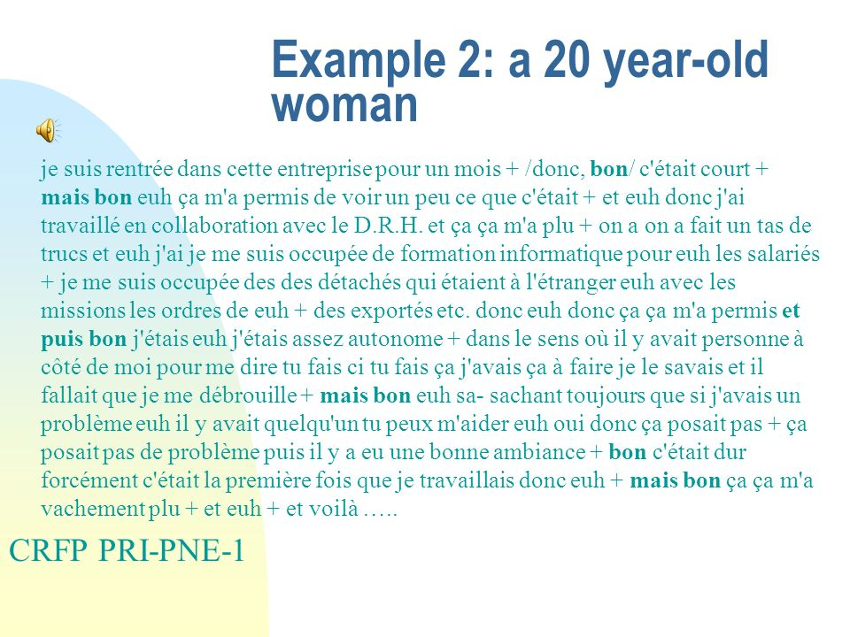 Example 2: a 20 year-old woman