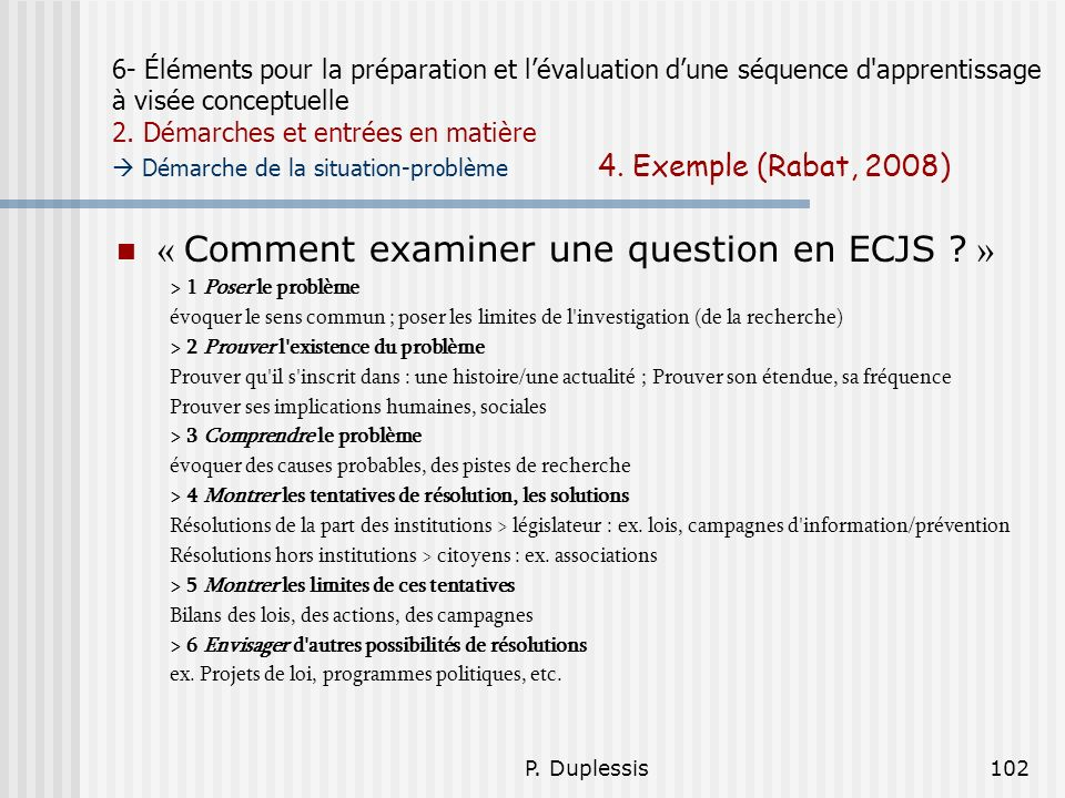 « Comment examiner une question en ECJS »