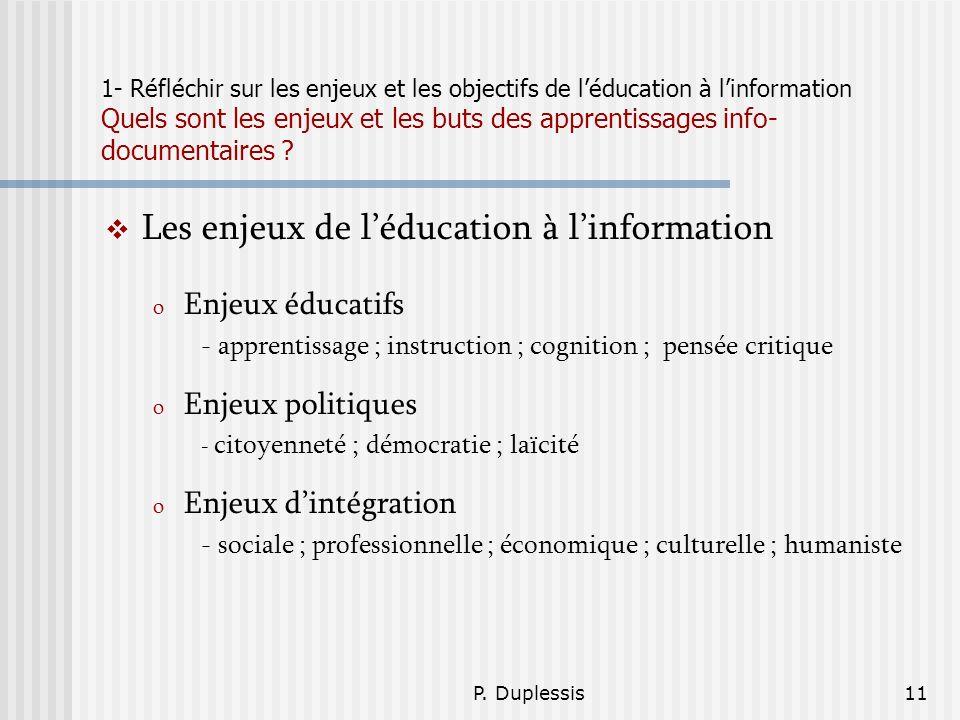 Les enjeux de l'éducation à l'information