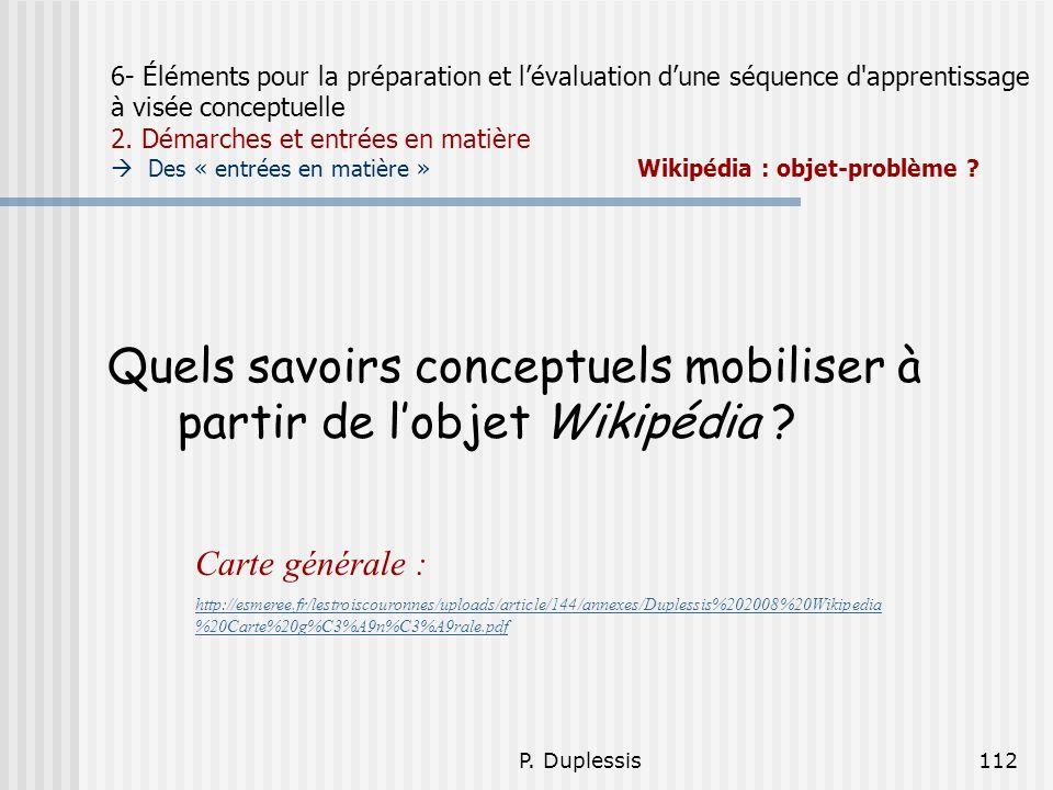 Quels savoirs conceptuels mobiliser à partir de l'objet Wikipédia