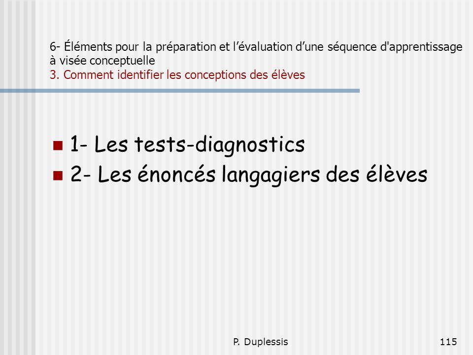 1- Les tests-diagnostics 2- Les énoncés langagiers des élèves