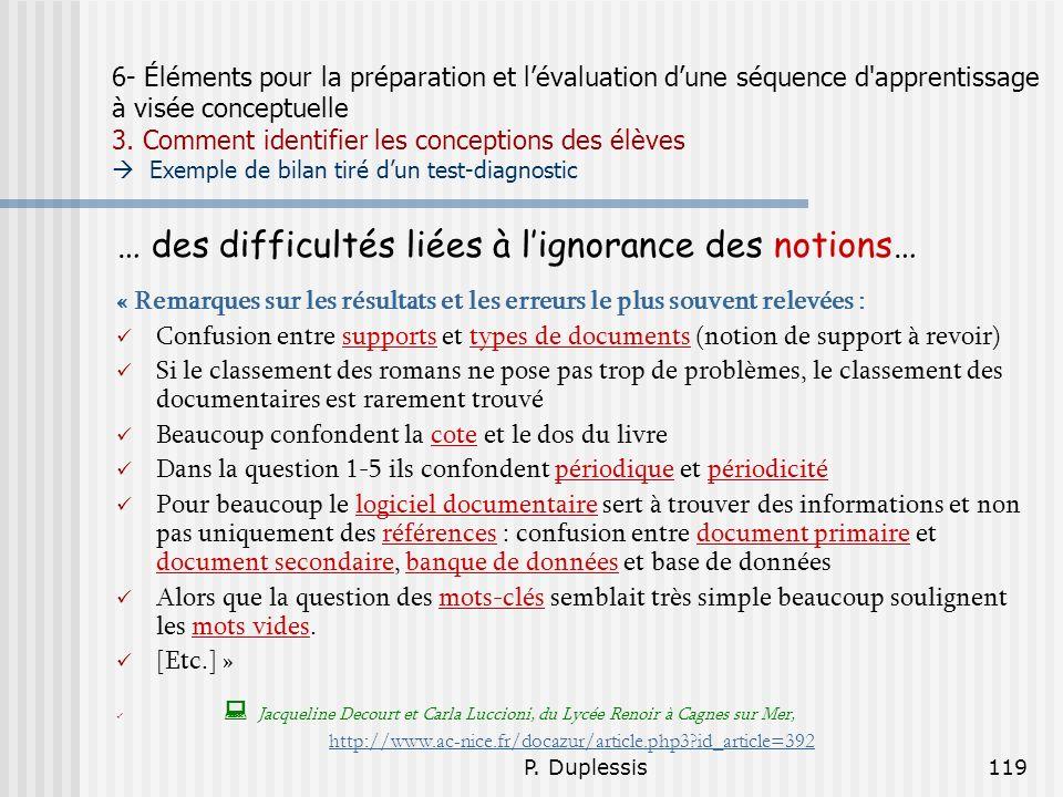 … des difficultés liées à l'ignorance des notions…