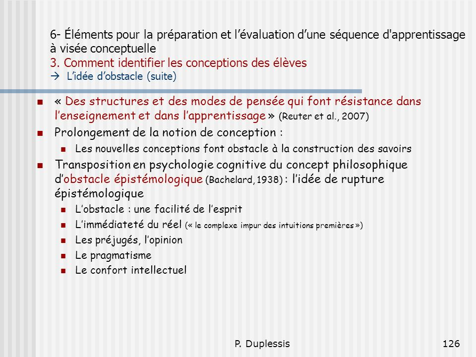 Prolongement de la notion de conception :