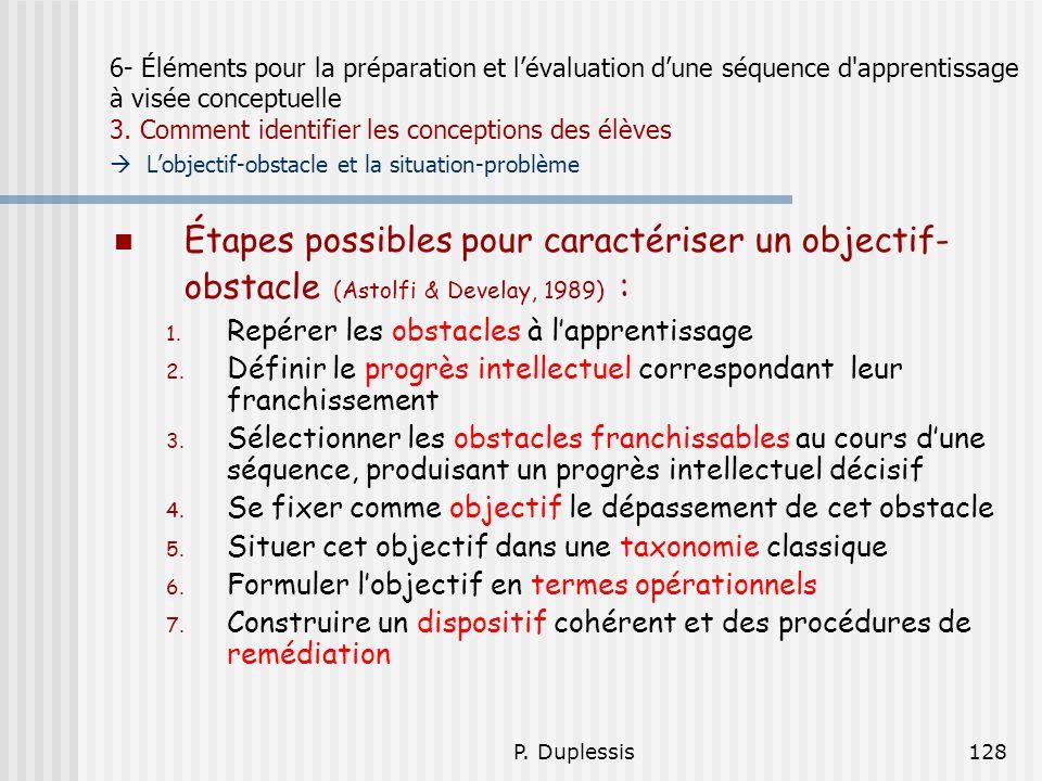 6- Éléments pour la préparation et l'évaluation d'une séquence d apprentissage à visée conceptuelle 3. Comment identifier les conceptions des élèves  L'objectif-obstacle et la situation-problème