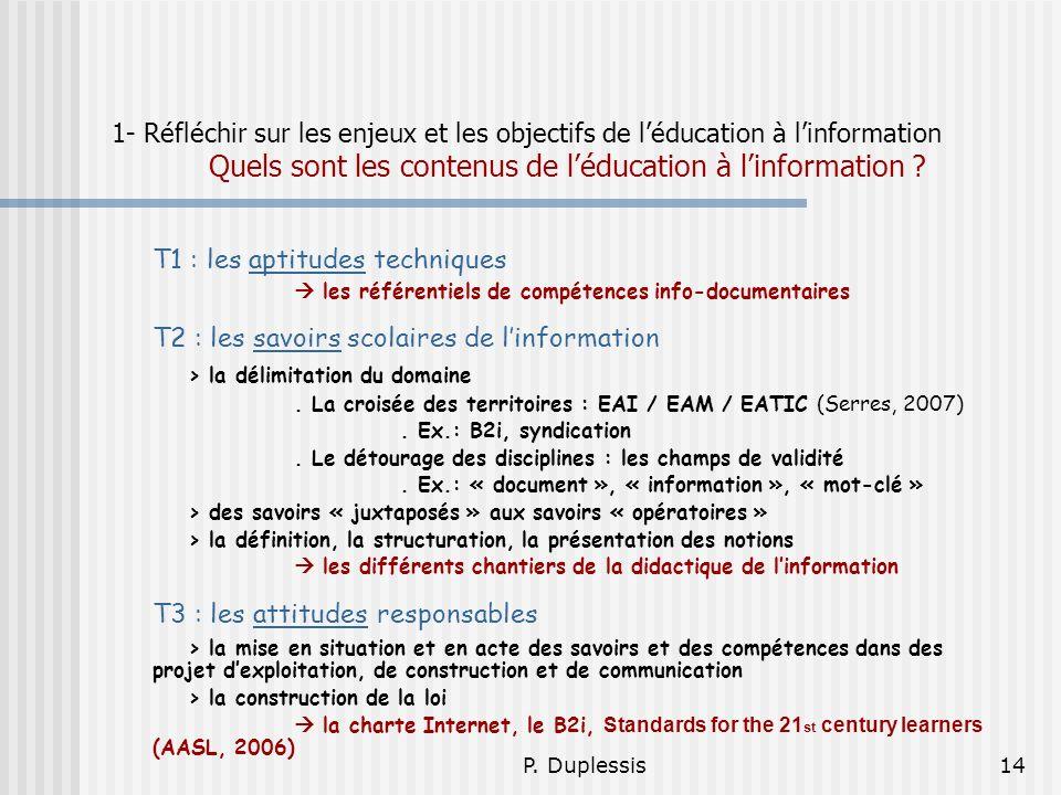 T1 : les aptitudes techniques