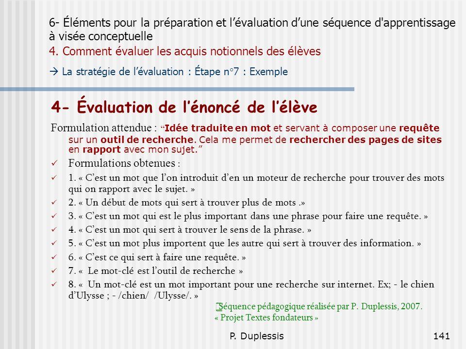 4- Évaluation de l'énoncé de l'élève