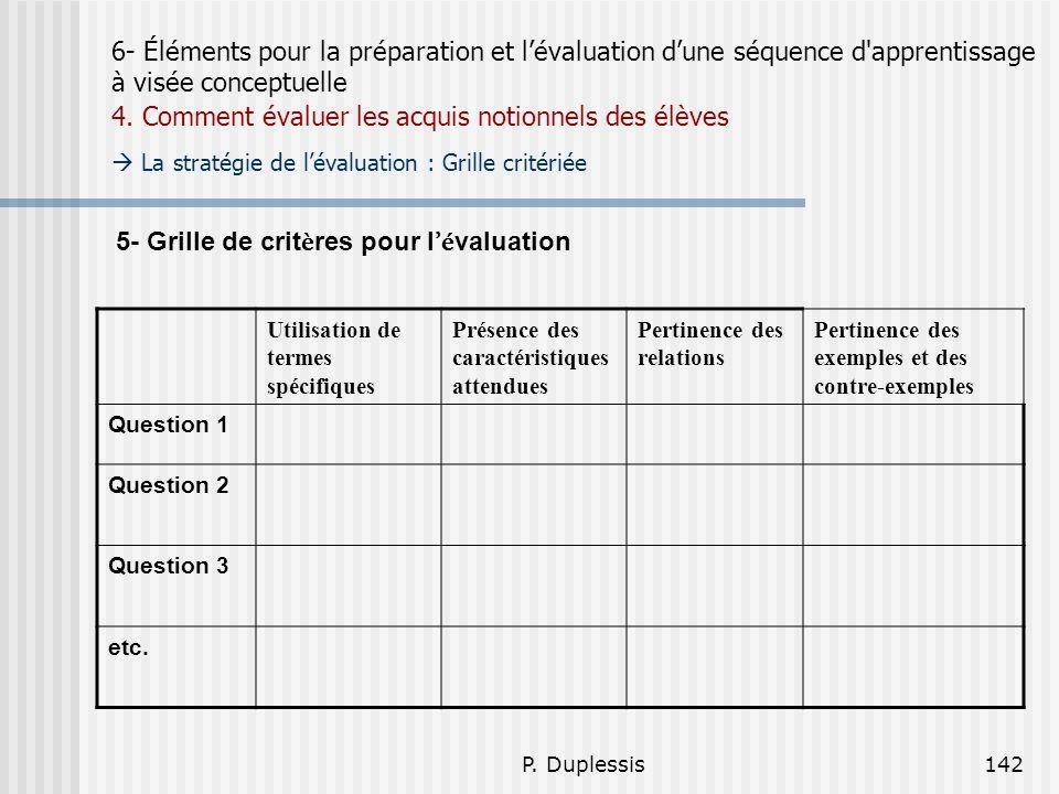 5- Grille de critères pour l'évaluation