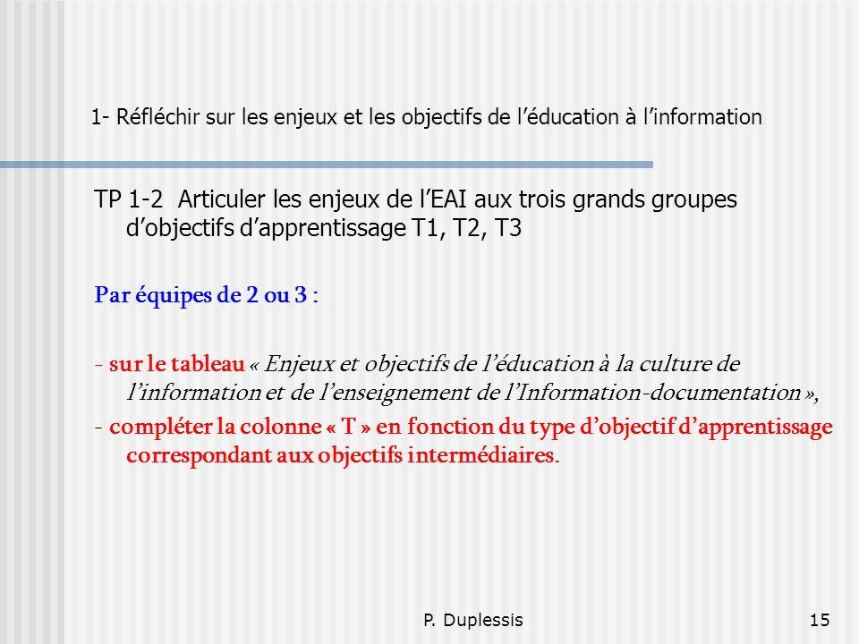 1- Réfléchir sur les enjeux et les objectifs de l'éducation à l'information