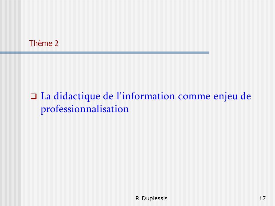 La didactique de l information comme enjeu de professionnalisation