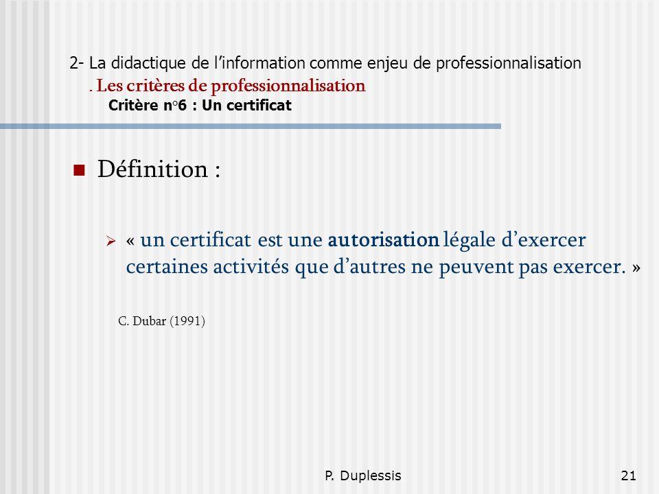 2- La didactique de l'information comme enjeu de professionnalisation