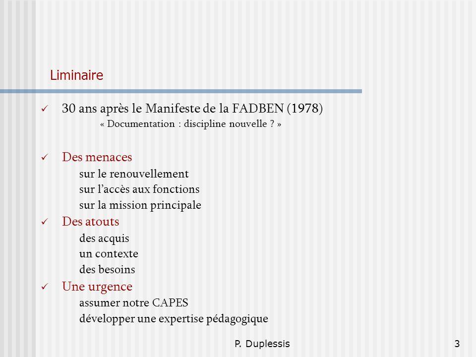 30 ans après le Manifeste de la FADBEN (1978)