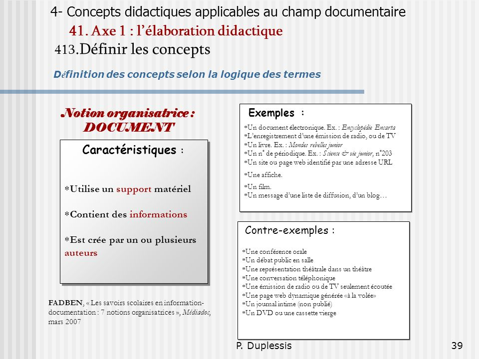 Notion organisatrice : DOCUMENT