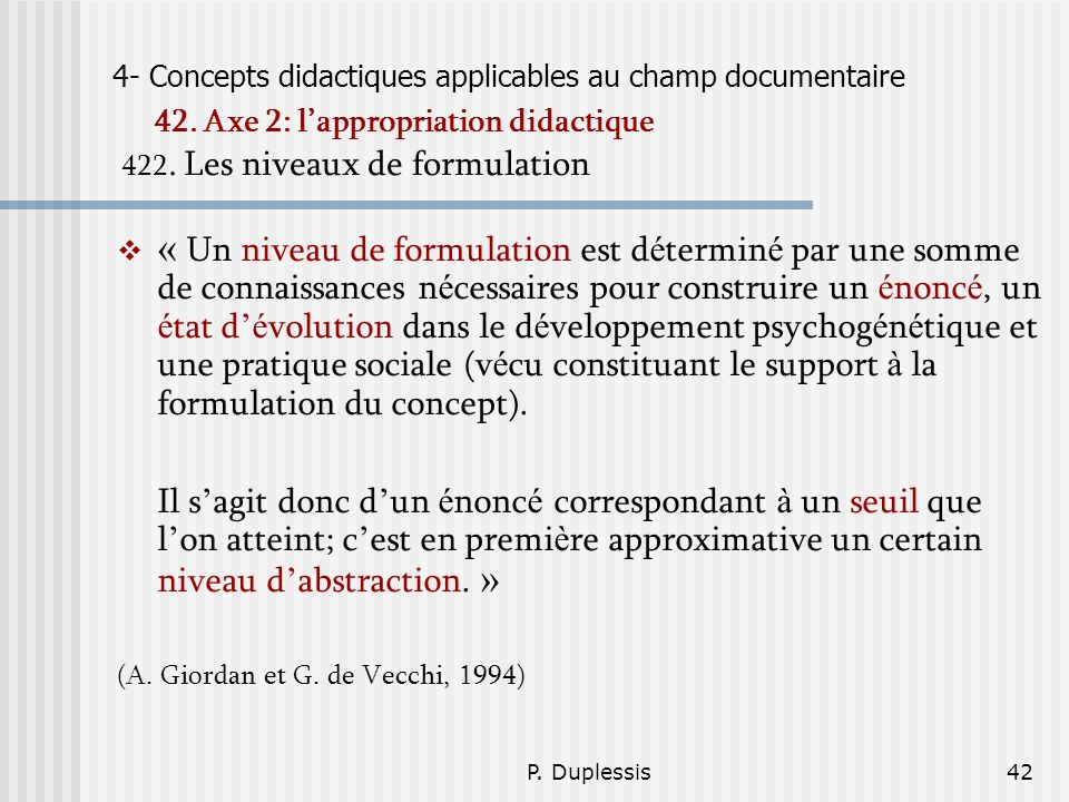 4- Concepts didactiques applicables au champ documentaire 42