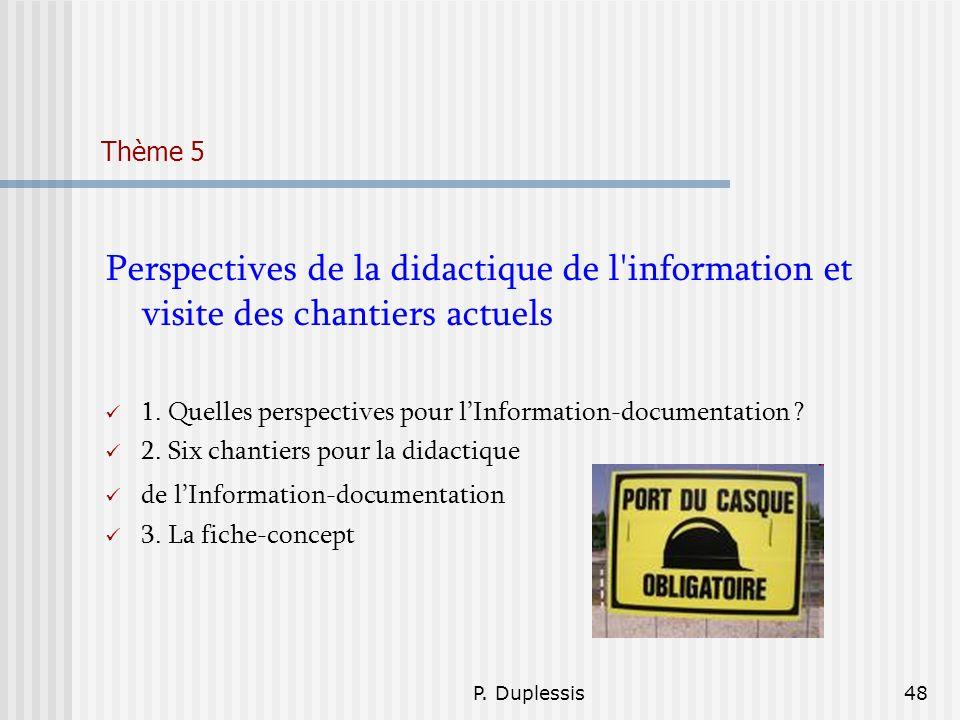 Thème 5 Perspectives de la didactique de l information et visite des chantiers actuels. 1. Quelles perspectives pour l'Information-documentation
