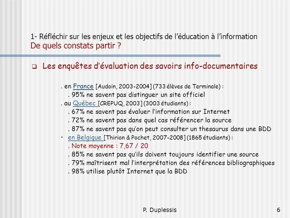 Les enquêtes d'évaluation des savoirs info-documentaires