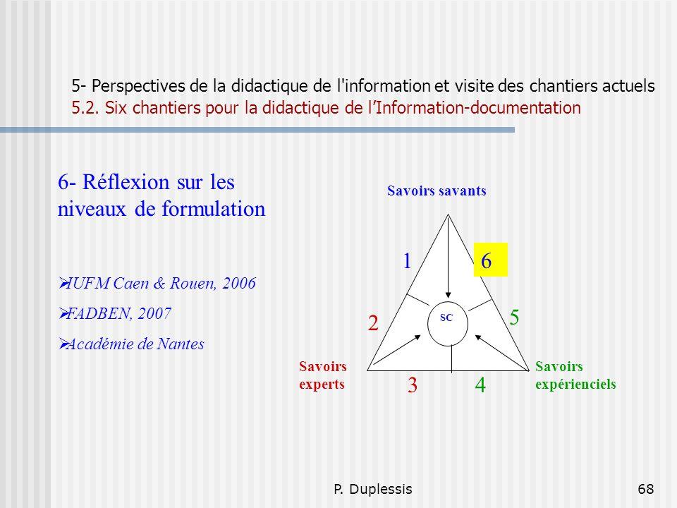 6- Réflexion sur les niveaux de formulation