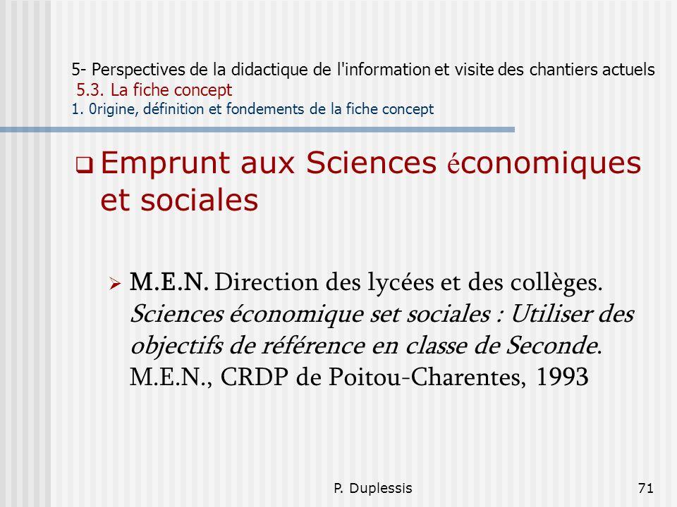 Emprunt aux Sciences économiques et sociales